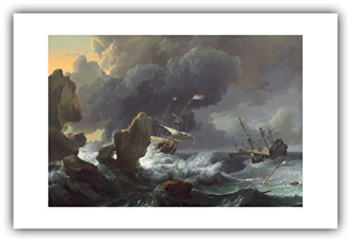 The Ibis Print Gallery - Ludolf Backhuysen : ''Ships in Distress Off a Rocky Coast'' (1667) - Giclee Fine Art Print