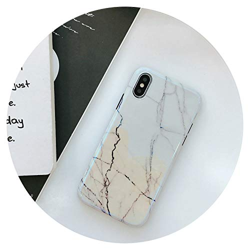 Blue Light Marble Patterned Phone Case for for iPhone X 8 7 6 6S Plus Cases Soft TPU Silicone Cover for iPhone 10,White,for iPhone 6 6S