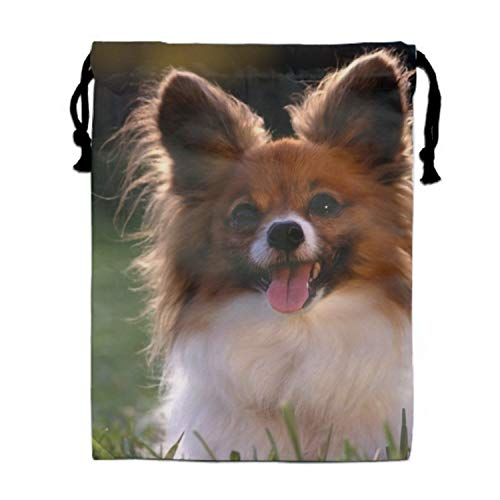 Drawstring Bags A Cute Little Papillion Sack Pack Kids Sport Storage Polyester Bag