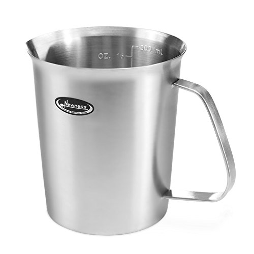 Measuring Cup (3 in 1, Mark Measurements in Ounce, Milliliter and Cup), Newness Stainless Steel Measuring Cup with Marking with Handle, 16 Ounces (0.5 Liter, 2 Cups)