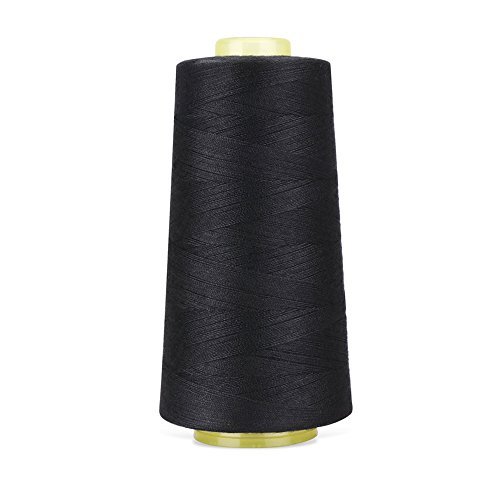 RCL 100% Polyester Sewing Thread Spools - 3000 Yards/1 Spool of Yarn, 40/2 All-Purpose Connecting Threads for Sewing Machine and Hand Repair Works (Black)