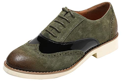 (U-lite Suede Leather Lace-up Low Heel Oxfords, Comfortable Casual Walking Oxfords Green 6)