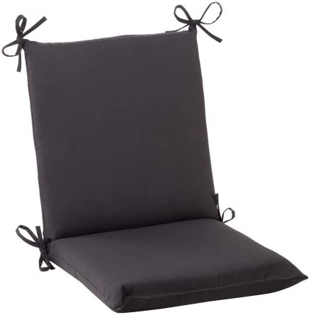 36.5 Solid Dark Gray Outdoor Patio Squared Chair Cushion with Ties