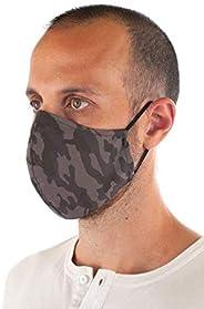 3-Layers Reusable Face Mask with Nose Clip (Grey Camo)
