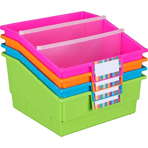 Really Good Stuff Large Plastic Book and Organizer Bins, Dividers, Built-in Label Holder, 13½'' by 13½'' by 7¾'' (Neon Set of 4) - for Picture Books, Large Reference Books in Classroom or Home