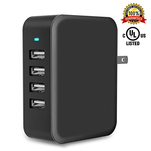 USB Wall Charger Power Adapter 4-Port USB 24W Travel Charger Adapter with Foldable Plug Multi Device Smart Charging-Compatible with iPhone, iPad, Samsung, Galaxy (Black)