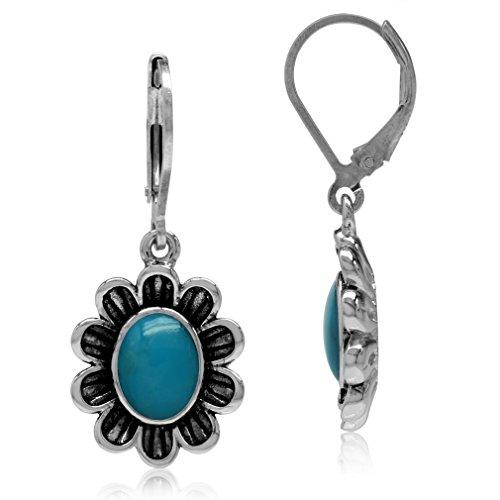 (Silvershake 8x6mm Genuine Oval Shape Arizona Turquoise 925 Sterling Silver Flower Leverback Dangle Earrings)