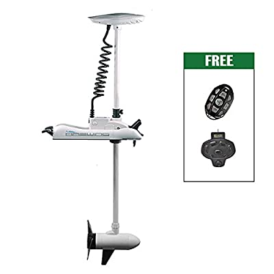 "White Haswing 24V 80LBS 48"" Shaft Bow Mount Electric Trolling Motor Lightweight, Variable Speed,with Foot Control for Bass Fishing Boats Freshwater and Saltwater Use,Energy Saving"