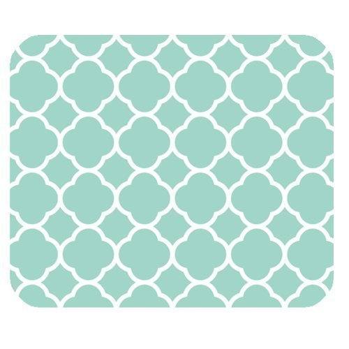 Non-Skid Natural Rubber Back Mint Quatrefoil Pattern Teal Turquoise Design Soft Mouse Pad Gaming Mousepad ()