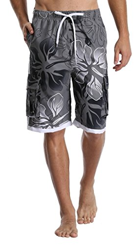 DESTTY Men's Quick Dry Beach Board Shorts Printed Swim Trunks Floral Casual Swim Shorts with Pockets White 02 M