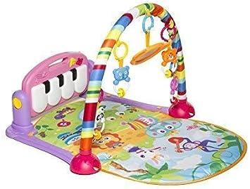 MooToys Patea y juega Juguete recién nacido con piano para bebés de 1 a 36 meses, Lay and Play, Siéntate y juega, Juguetes de actividades, Play Mat Activity Gym para bebés. Rosa (MT-108)