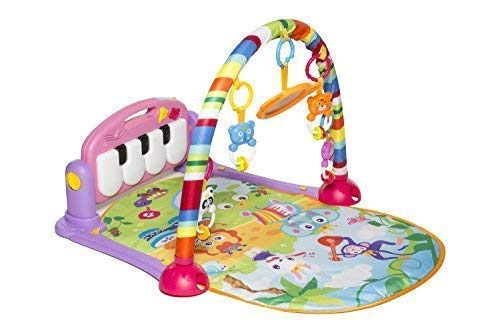 (MooToys Kick and Play Newborn Toy with Piano for Baby 1 - 36 Month, Lay and Play, Sit and Play, Activity Toys, Play Mat Activity Gym for Baby. Pink)