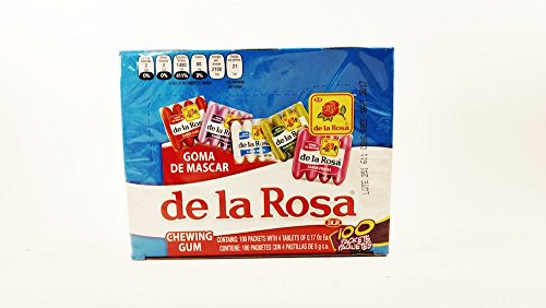Chocolate Flavored Gum - De la rosa Fruit Flavored Chewing Gum, 1 Box 100 packs of 4 pieces Authentic Mexican Candy with Free Chocolate Kinder Bar Included