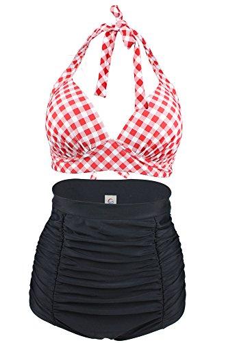 Halter Bikini Plaid (Tailloday Women's Retro Halter Neck Fashion High Waist Two Piece Bikini Set Swimsuits (Plaid-E, US8/XL))