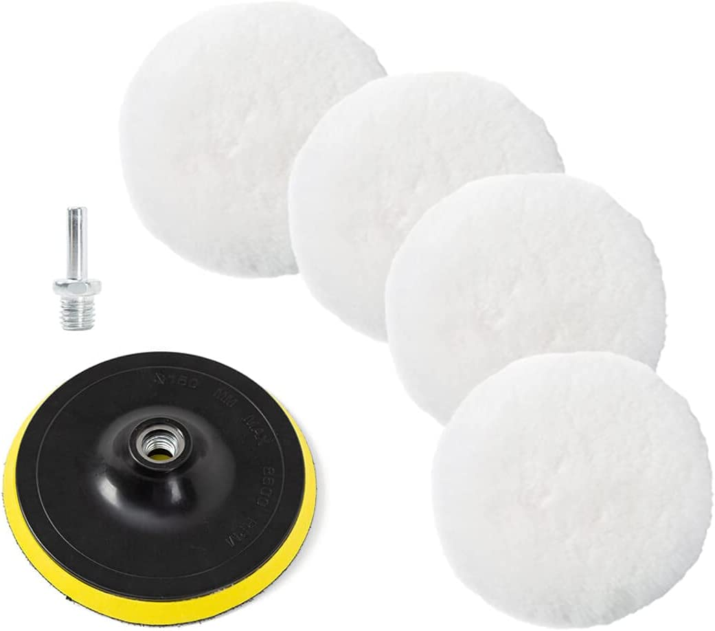 Aysimple 6 Pcs 6 Inch Wool Polishing Pad Buffing Pads Polishing Buffing Wheel for Drill Buffer Attachment for Car Polisher