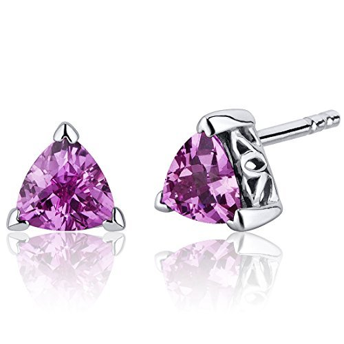 Created Pink Sapphire Stud Earrings Sterling Silver Trillion Cut 2.00 Carats by Peora