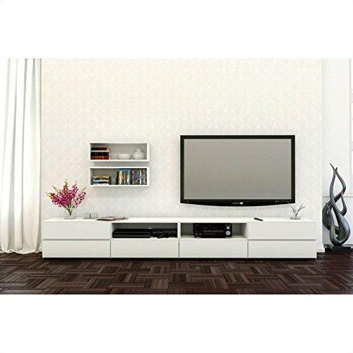 Nexera Blvd 3 Piece Entertainment Set in White (Stand 3 Shelf Modular Tv)