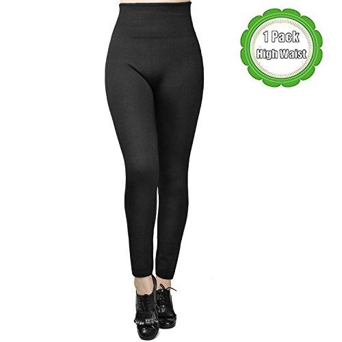 Fleece Stretch Leggings (Moon Wood Women Winter High Waist Spanx Fleece Lined Leggings Black Ladies Seamless Ankle Black One Size)