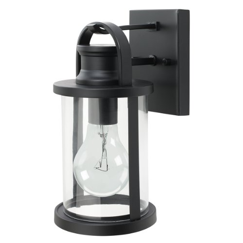 Globe Electric 43532 11.5 inch Outdoor Wall Lantern Light Fixture, Black Finish with Clear Glass Shade - Newbury Newbury Outdoor Fixture