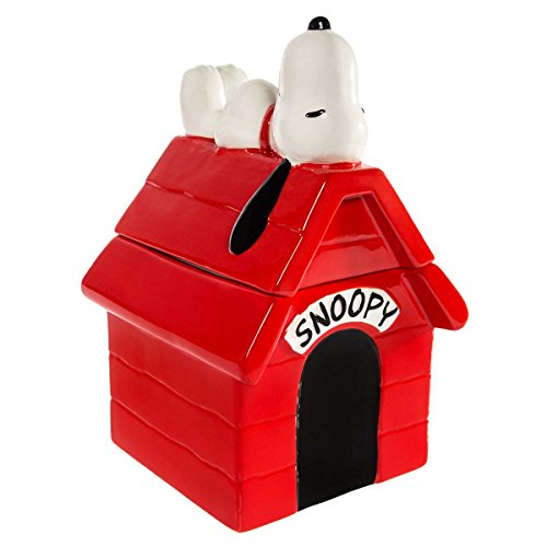 "Ceramic Dog Treat Jar - Gibson Peanuts Snoopy Dog House 10.5"" Ceramic Cookie With Lid Large Treat Jar Food Storage Container"