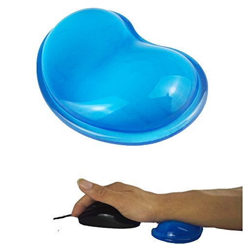 Lucstar Computer Desk Wrist Rest Pad Keyboard Mouse Laptop, Soft Cool Cute Gel Wrist Support for Game Office Work Typing Gift, Heart-Shaped Translucence Silicone Hand Pillow(1PCS) ()