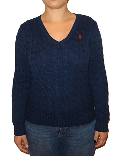 Ralph Lauren Women's V-neck Cable Knit Pony Logo Sweater (Large, French Navy)
