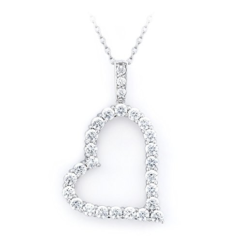 Baron Jewelry Made with Swarovski Zirconia. Large Sparkling Slanted Heart Necklace. Platinum Plated .925 Sterling Silver. 18