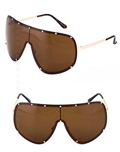 SHIELD OVERSIZED Huge Big MASK Half Face Owen Polarized Large Lens - Studded Sunglasses