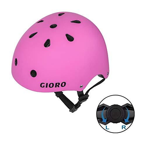 GIORO Skateboard Helmet Impact Resistance Safe Helmet Multi Sport for Bike, Skates, Skateboards & Scooter Certified CPSC Adult&Kids Adjustable Dial Helmet with Multiple Colors&Sizes (Pink, Large)