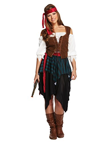 Rimi Hanger Adult Ladies Caribbean Pirate Pirates Fancy Dress Costume Wench Outfit US 4-10