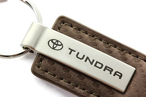 Toyota Tundra Brown Carbon Fiber Leather Key Chain Metal