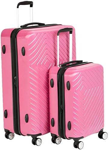 Amazon Basics 2 Piece Geometric Hard Shell Expandable Luggage Spinner Suitcase Set - Pink