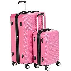WMB Travel Pro 41mOMrgC37L._SS247_ Amazon Basics 2 Piece Geometric Hard Shell Expandable Luggage Spinner Suitcase Set - Pink