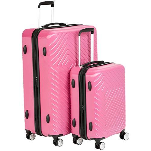 AmazonBasics 2 Piece Geometric Hard Shell Expandable Luggage Spinner Suitcase Set - Pink (Best Lightweight Luggage Brands)