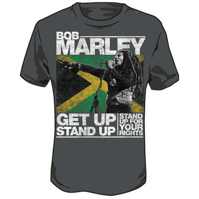 Bob Marley - Get Up Stand Up Adult T-Shirt in Charcoal, Size: Large, Color: Charcoal (Bob Marley Colors)