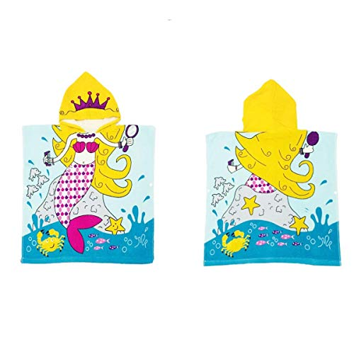 "BabyLUV - Kids Hooded Beach Towel - One -Size-Fits-All - 24"" x 48"" - Unisex - Ages 2-9 - Boy - Girl - Breathable - Quick Dry -100% Microfiber - Cartoon Character (Mermaid)"