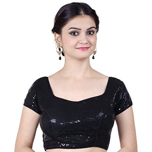 Chandrakala Women's Stretchable Readymade Lycra Black Indian Ethnic Saree Blouse Crop Top Choli-2X-Large (B107BLA6)