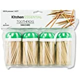 Toothpick Dispenser 4 pack with 600 ct 100% All Natural Bamboo Round Toothpicks