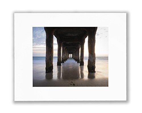 Under the Pier Wall Art, Coastal Wall decor, Manhattan Beach Landmark Photo, 8X10 Matted Print (Fits 11X14 - Manhattan Fit On Beach