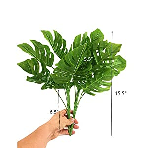15.5 inch 2 branches Tropical Leaves Artificial Simulation Palm Monstera Fake Plant Decorative Flower arrangement Greenery Plants 9 leaves per branch for wedding Home Kitchen Party Supplies 2