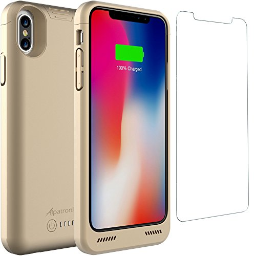 iPhone X Battery Case Qi Wireless Charging Compatible, Alpatronix BXX 5.8-inch 4200mAh Slim Rechargeable Extended Protective Portable Charger Case for iPhone X [Apple Certified Chip; iOS 11+] – Gold (20 Cable Usb Gold Certified)