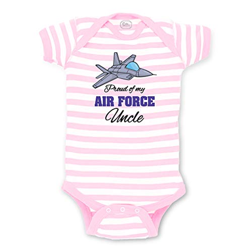 Cute Rascals Proud of My Air Force Uncle Short Sleeve Envelope Neck Boys-Girls Cotton Baby Fine Stripes Bodysuit - White Soft Pink, 6 Months