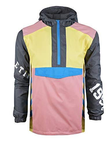 SCREENSHOTBRAND-S51910 Color Block Lightweight Racing Print Windbreaker Jacket-Pink-XLarge