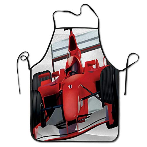 (Chef Cooking Cook Apron Bib 2019 Cars Formula Race Car with the Driver Automobile Motorized Sports Theme Strong EngineGive You Services Red Black White)