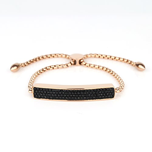 Stylish Rose Gold Tone Designer Bar Bracelet with Stunning Jet Black Embedded Swarovski Style Crystals and Adjustable - Black Crystal Swarovski Bracelet Jet