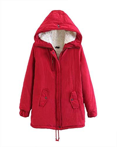Pile Donna Foderato Studente Collo Faux Addensato Cappotto Incappucciato Outwear Base Di Pelliccia Liangzhu Rosso dXIqpwFF