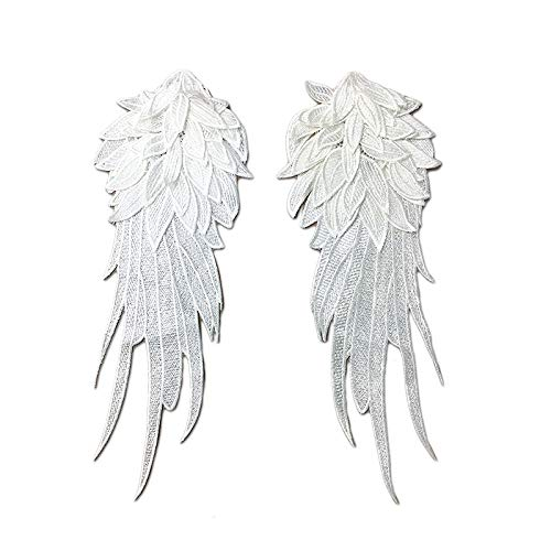 Lace Crafts - Wholesale 1Pair Black White Embroidered Angel Wings Lace Fabric Shoulder Venise Lace Sewing Applique DIY Halloween Costume Decor - (Color: -