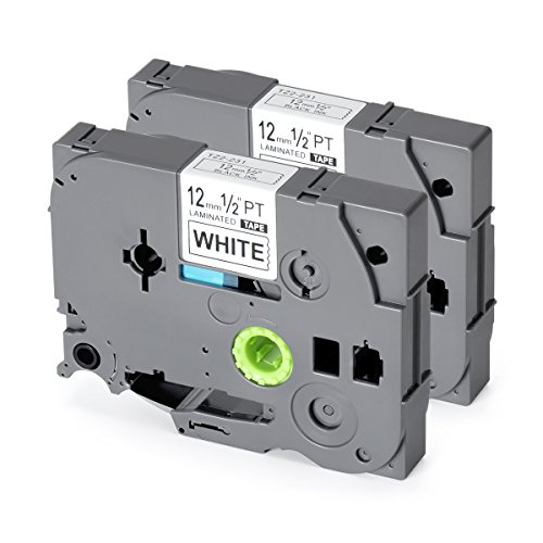 Label Tape Replace TZe231 TZ231 12mm 8m Black on White Standard Laminated Labels Replacement for Brother P-Touch Label Maker TZe-231, PT-H110, PT-D210, PT-D400AD, PT-D600 (1/2