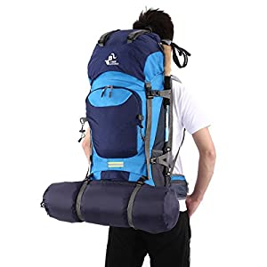 Free Knight 60L Hiking Backpack Mountaineering Camping Trekking Travel Bag Large Capacity Rucksack Internal Frame Water Resistant for Outdoor, Navy Blue