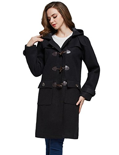 Womens Hooded Toggle - Camii Mia Women's Wool Blend Longline Hooded Pea Toggle Coat (Medium, Black)
